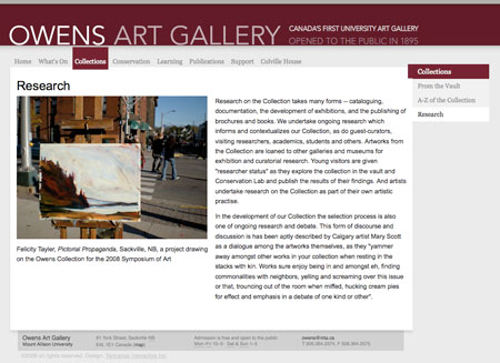 Owens Art Gallery - Research on the Collection
